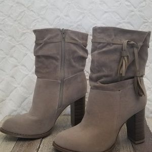 Chase and Chloe nude suede boots.